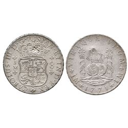 Lima, Peru, pillar 8 reales, Charles III, 1771JM, with one large chopmark as from circulation in the