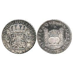 Lima, Peru, pillar 8 reales, Charles III, 1772JM, last year of issue.