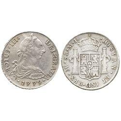 Lima, Peru, bust 8 reales, Charles III, 1779MJ.