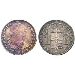 Lima, Peru, bust 8 reales, Charles III, 1780MI.