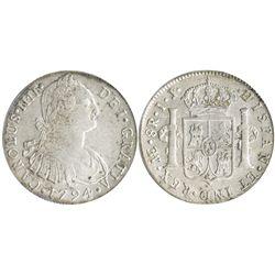 Lima, Peru, bust 8 reales, Charles IV, 1794IJ, encapsulated PCGS AU53 (old green tag).