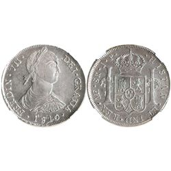 """Lima, Peru, bust 8 reales, Ferdinand VII transitional (""""imaginary bust""""), 1810JP, encapsulated NGC A"""