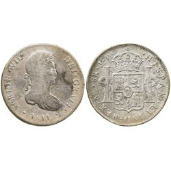 Lima, Peru, bust 8 reales, Ferdinand VII, 1811JP.