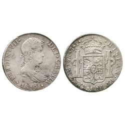 Lima, Peru, bust 8 reales, Ferdinand VII, 1819JP, with small chopmarks as from circulation in the Or