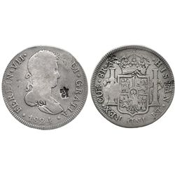 Cuzco, Peru, pillar 8 reales, Ferdinand VII, 1824G, with chopmarks as from circulation in the Orient