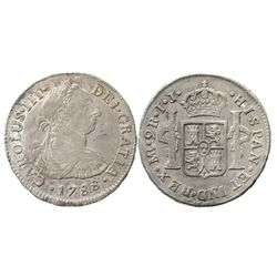 Lima, Peru, bust 2 reales, Charles III, 1788IJ.