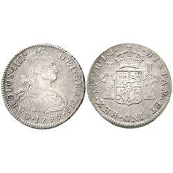 Lima, Peru, bust 2 reales, Charles IV, 1792IJ.