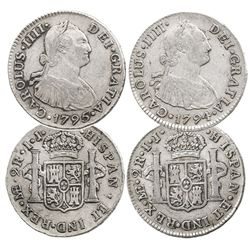 Lot of 2 Lima, Peru, bust 2 reales of Charles IV: 1794IJ and 1795IJ.