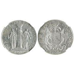 Lima, Peru, 8 reales, 1822JP, provisional coinage, encapsulated NGC AU 58.