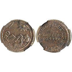 Lima, Peru, copper 1/8 peso, 1823V, provisional coinage, encapsulated NGC AU 55 BN, finest known spe