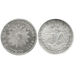 Cuzco, South Peru, 8 reales, 1838MS, CONFEDERACION type, encapsulated NGC MS 62.