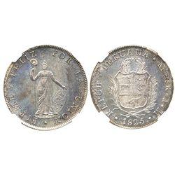 Lima, Peru, 8 reales, 1825JM, encapsulated NGC AU 58.