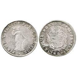 Lima, Peru, 8 reales, 1827JM.