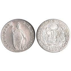 Lima, Peru, 8 reales, 1841MB, ex-Millennia, encapsulated NGC MS 62.