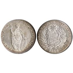 Lima, Peru, 4 reales, 1854MB, encapsulated NGC MS 62.