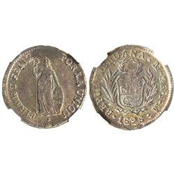 Lima, Peru, 2 reales, 1828JM, ex-Whittier, encapsulated NGC MS 62.