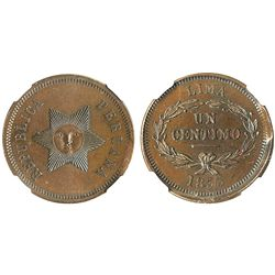 Lima, Peru, copper 1 centimo pattern, 1855, encapsulated NGC MS 64 BN, finest (and only) known speci