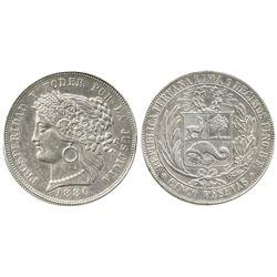Lima, Peru, 5 pesetas, 1880B-BF, no dot after B.