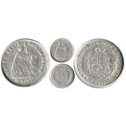 Cuzco, Peru, 1/2 dinero, 1885JM, encapsulated ANACS EF 40.