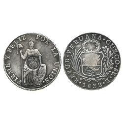 """Philippines (under Spain), 8 reales, Ferdinand VII, crowned """"F.7.o"""" countermark (1832-34) on a Cuzco"""