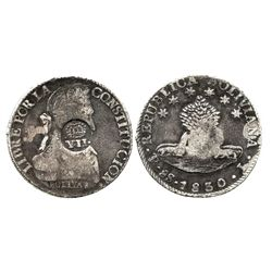 """Philippines (under Spain), 8 reales, Isabel II, crowned """"Y.II."""" countermark (1834) on a Potosi, Boli"""
