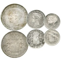 Lot of 3 Puerto Rico silver coins of Alfonso XIII, assayer PG-V: 1 peso, 1895; 40 centavos, 1896; an