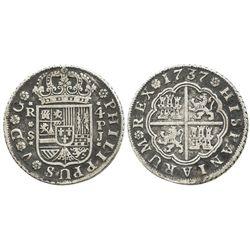 "Seville, Spain, milled 4 reales ""double pistareen,"" Philip V, 1737PJ."