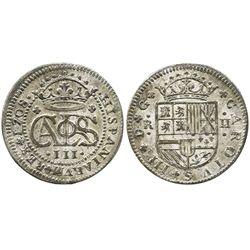 Barcelona, Spain, milled 2 reales, Charles III, 1708.