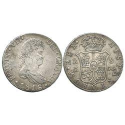 Madrid, Spain, bust 8 reales, Ferdinand VII, 1816GJ.