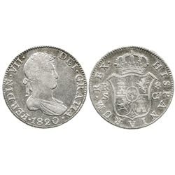 Seville, Spain, bust 8 reales, Ferdinand VII, 1820CJ.