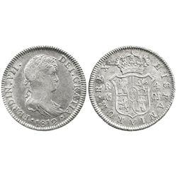 Cadiz, Spain, bust 4 reales, Ferdinand VII, 1812CJ, narrow bust.