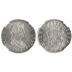 Madrid, Spain, bust 2 reales, Ferdinand VII, 1833AJ, encapsulated NGC MS 63.