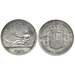 Madrid, Spain (provisional government), silver pattern 5 pesetas, (1868), rare.