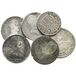 Lot of 6 Spanish colonial bust-type coins (five 8R and one 4R), various dates and mints.