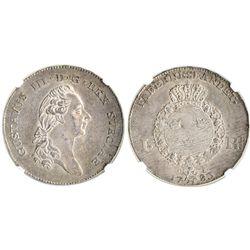 Sweden, riksdaler, Gustaf III, 1783OL, encapsulated NGC AU 58, finest (and only) known specimen grad