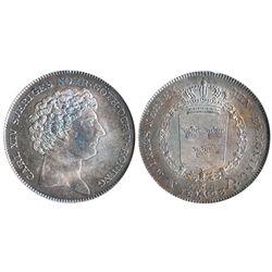 Sweden, riksdaler, Carl XIV Johan, 1823CB, encapsulated NGC AU 58, tied for finest known specimen gr