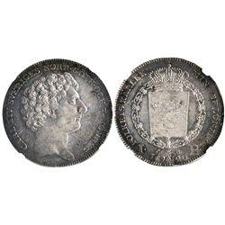 Sweden, riksdaler, Carl XIV Johan, large bust variety, 1823CB, encapsulated NGC AU 58, tied for fine