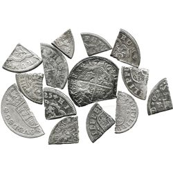 """Lot of 14 """"bits"""" cut from Spanish 1700s """"pistareens"""" (and fractions) and circulated in colonial US."""