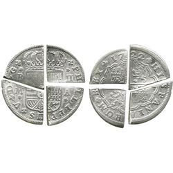 Lot of 4 quarter-cut  bits  of a single Spanish  pistareen  (Madrid 2R 1722A), found together in a c