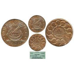 "USA, copper ""fugio cent,"" 1787, 4 cinquefoils, STATES UNITED, pointed rays, encapsulated PCGS MS64BN"