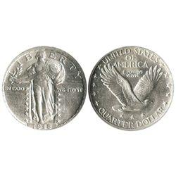USA (Denver mint), 25 cents standing Liberty quarter, 1918-D, encapsulated PCI AU58.
