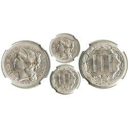 USA, nickel 3 cents, 1869, encapsulated NGC MS 64.