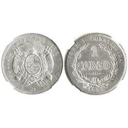 Uruguay, 1 peso, 1893, encapsulated NGC AU 55.