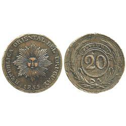 Uruguay, copper 20 centesimos, 1855.