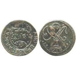 """Caracas, Venezuela, copper 1/4 real, 1816, large date, with unidentified countermark """"F O"""" in large"""