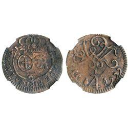 Caracas, Venezuela, copper 1/4 real, 1818, small date, encapsulated NGC XF 40 BN.