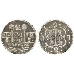 Caracas, Venezuela, 2 reales, 1818BS (struck in 1830), F-7 flanking cross, quadrants of cross transp