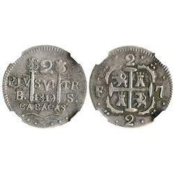 Caracas, Venezuela, 2 reales, 1819BS (struck in 1830), F-7 flanking cross, quadrants of cross transp