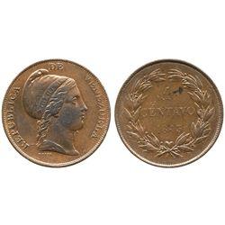 Venezuela, copper 1 centavo, 1843.