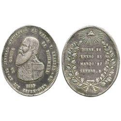 Potosi, Bolivia, oval silver military medal, 1865, Melgarejo.